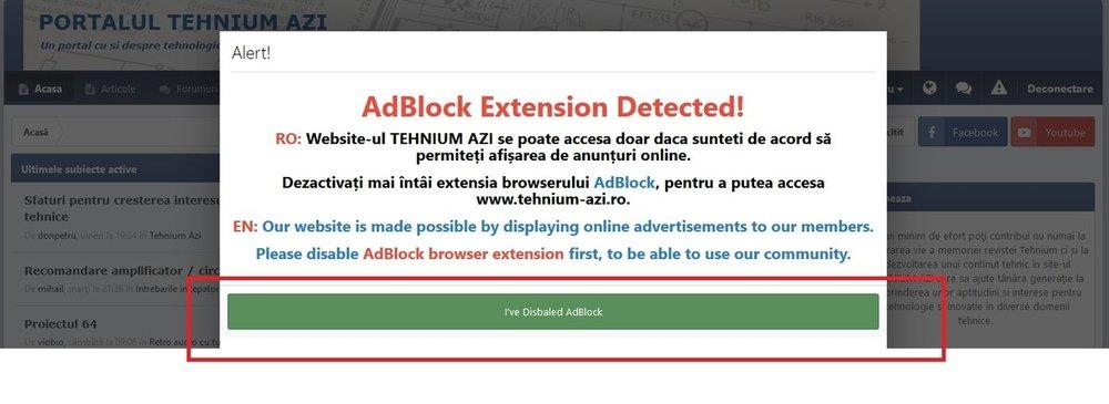 Ecran avertizare pentru dezactivare Adblock.jpg